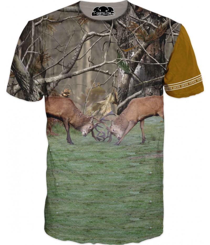 Ловна тениска с два елена - двубой