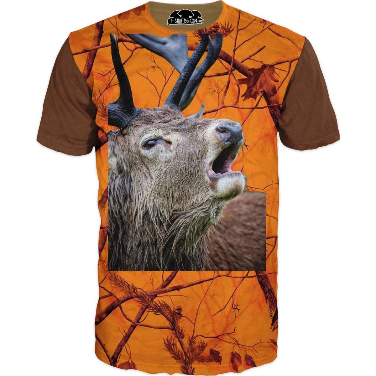 Ловна тениска - елен в оранжев дървесен камуфлаж