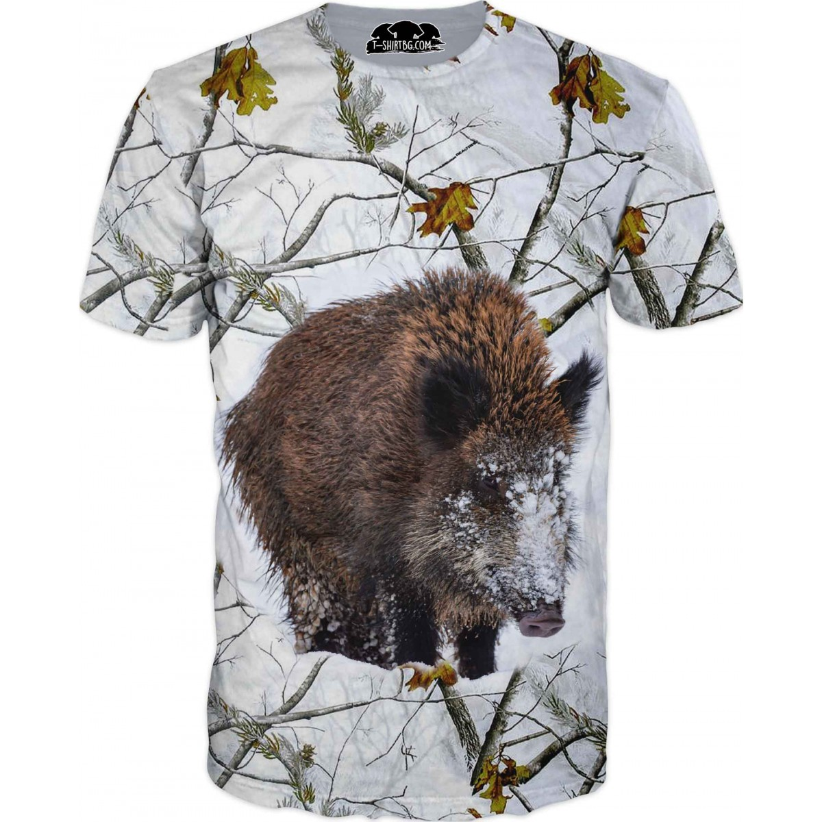 Ловна тениска - прасе в снежен камуфлаж