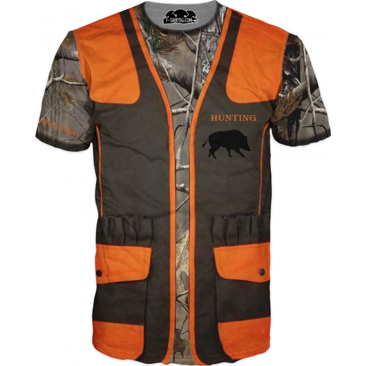 Ловна тениска - жилетка с камуфлаж