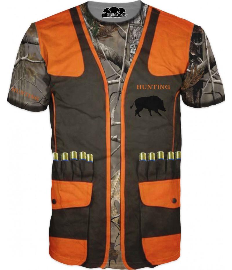 Ловна тениска - жилетка с камуфлаж и патрони
