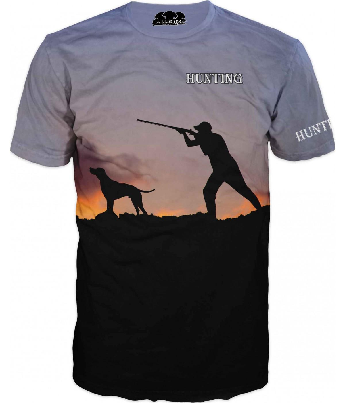 Ловна тениска на ловец с куче
