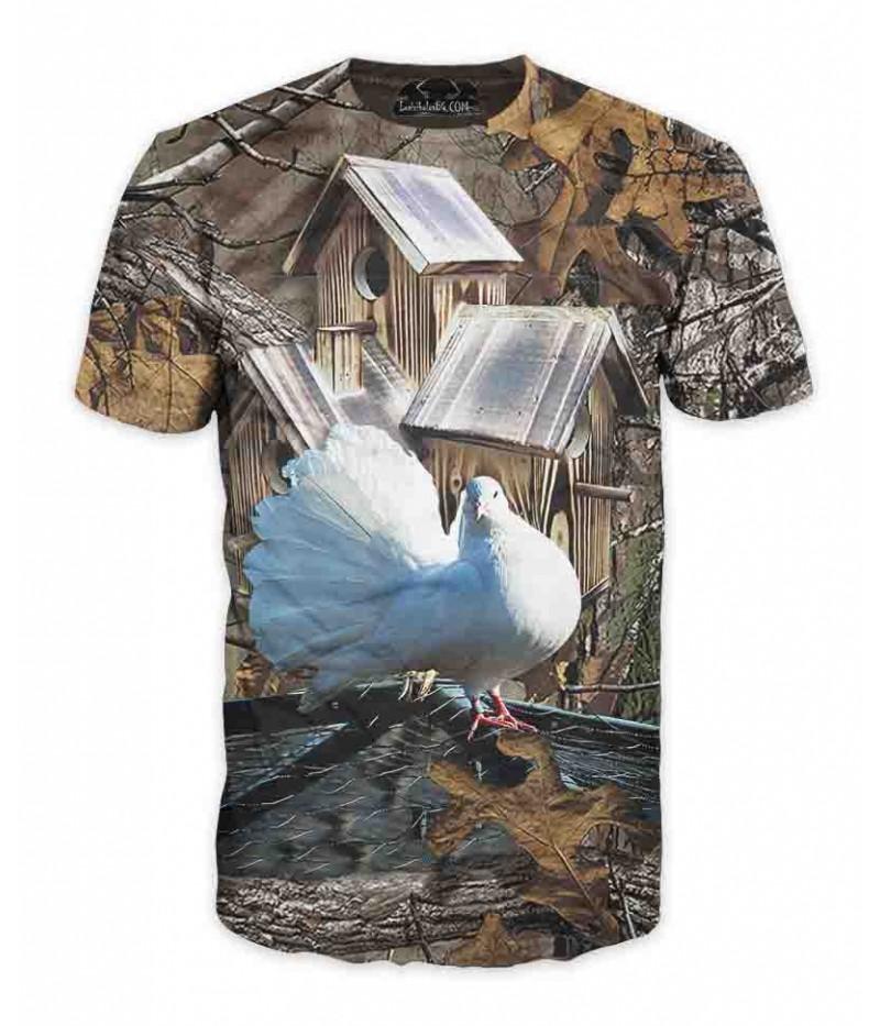 Ловна тениска с бял гълъб в хранилка-камуфлаж