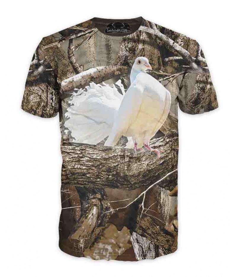 Ловна тениска с бял гълъб-камуфлаж