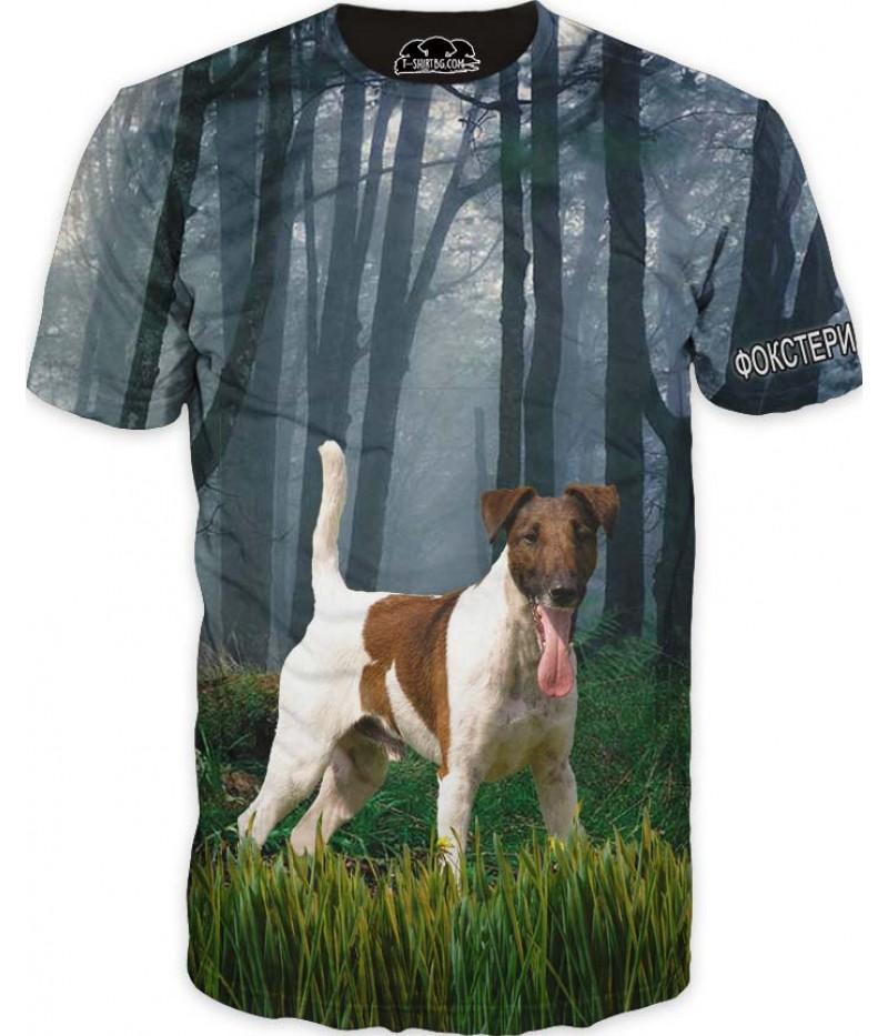 Ловна тениска с Фокстериер гладък косъм