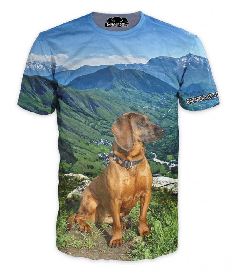 Ловна тениска с Баварска планинска хрътка