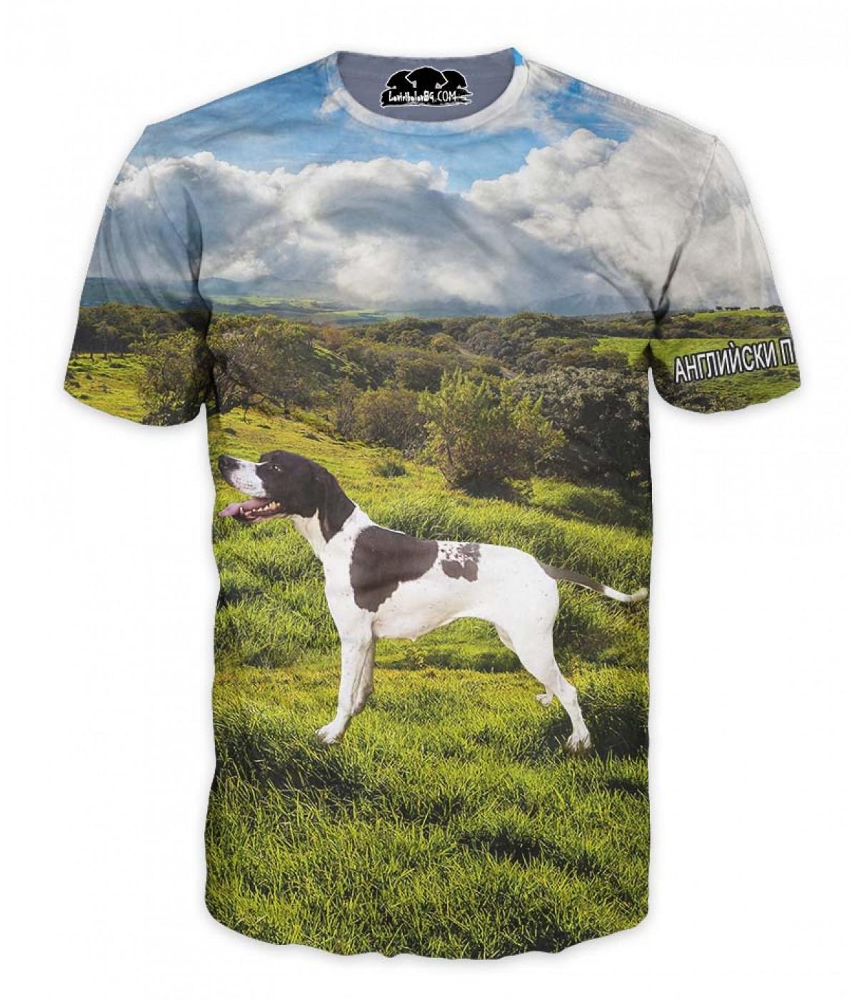 Ловна тениска с англиѝски пойнтнер