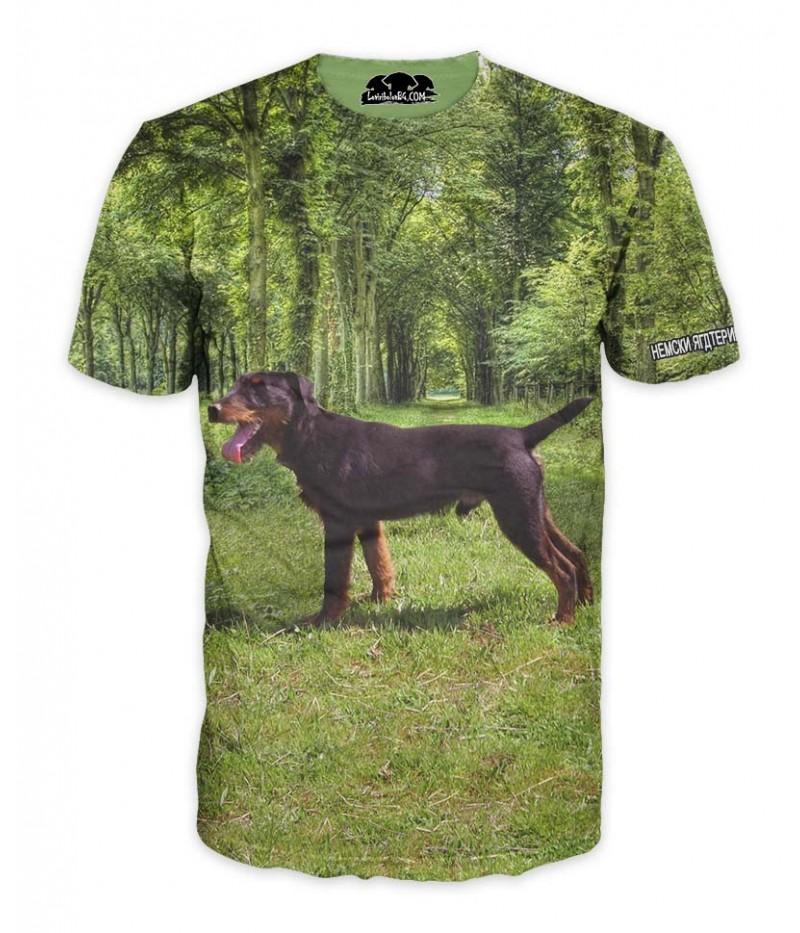 Ловна тениска с немски ягдтериер