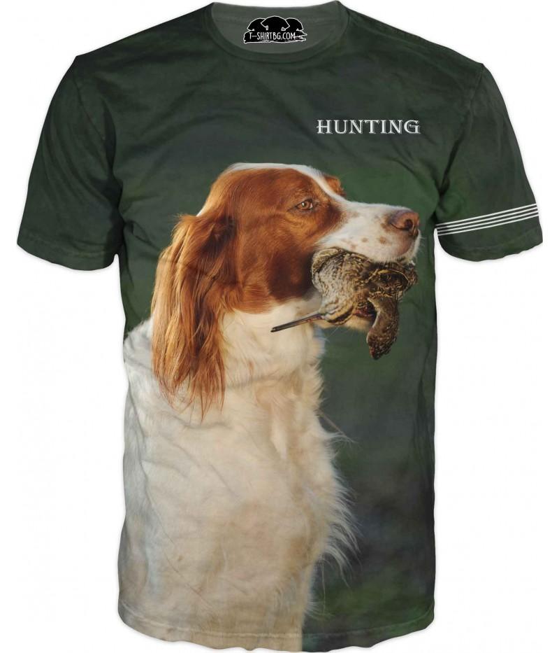 Ловна тениска - куче уловило бекас