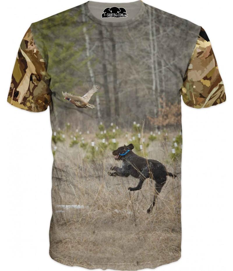 Страхотна ловна тениска - куче и фазан