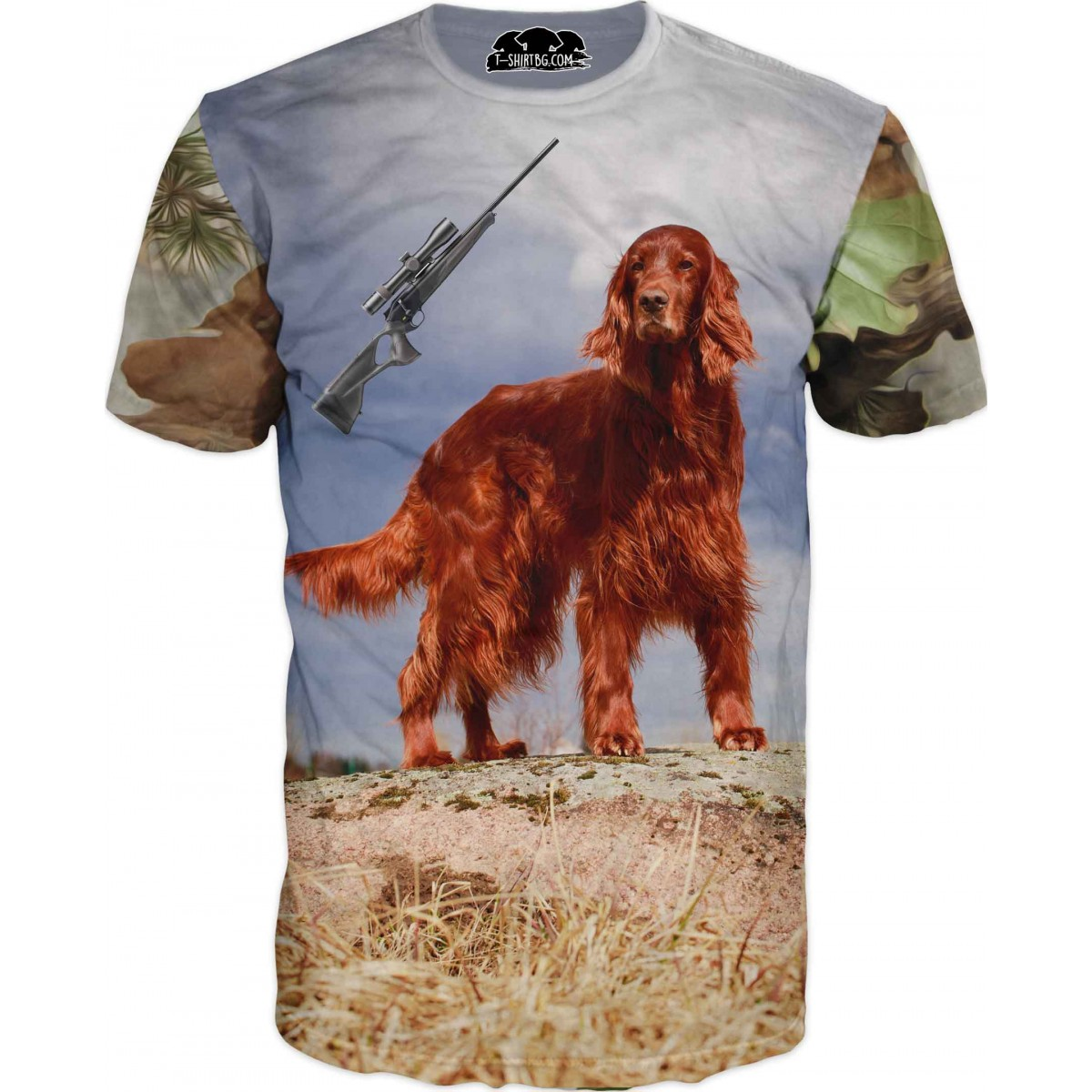 Ловна тениска със сетер с пушка