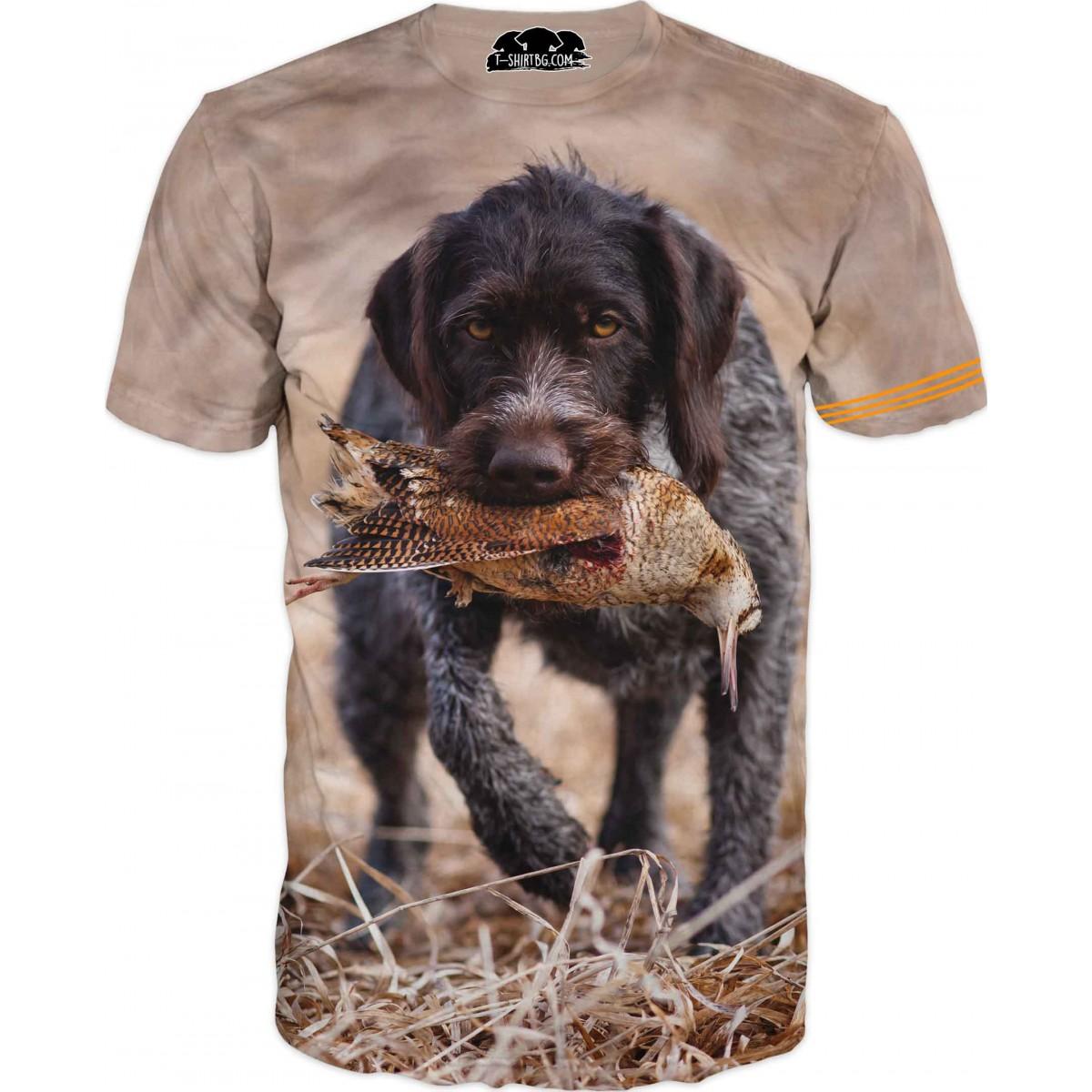 Ловна тениска с куче и пиле