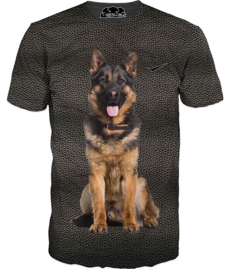 Ловна тениска с Немска овчарка - черна кожа
