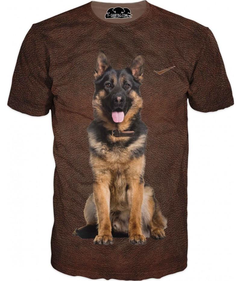 Ловна тениска с Немска овчарка - кафява кожа
