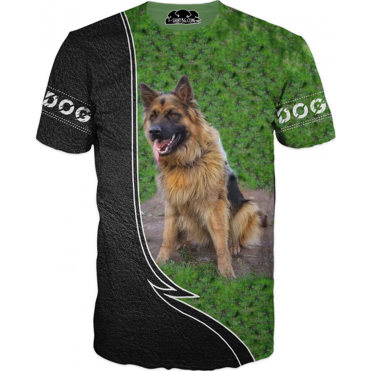 Ловна тениска с Немска овчарка - на лов