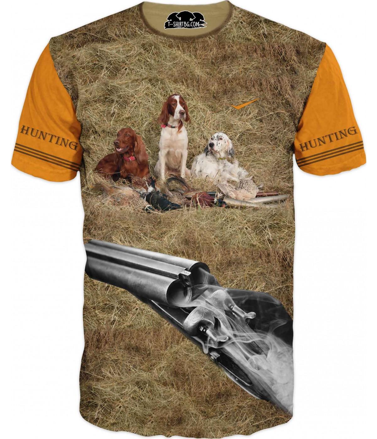 Тениска с три ловни кучета