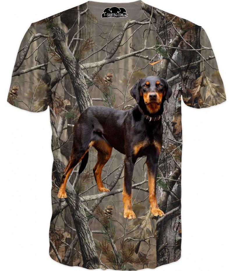 Ловна тениска с българско гонче в горски камуфлаж