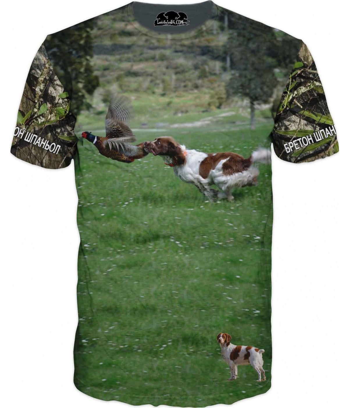 Ловна тениска  - куче ловящо фазан