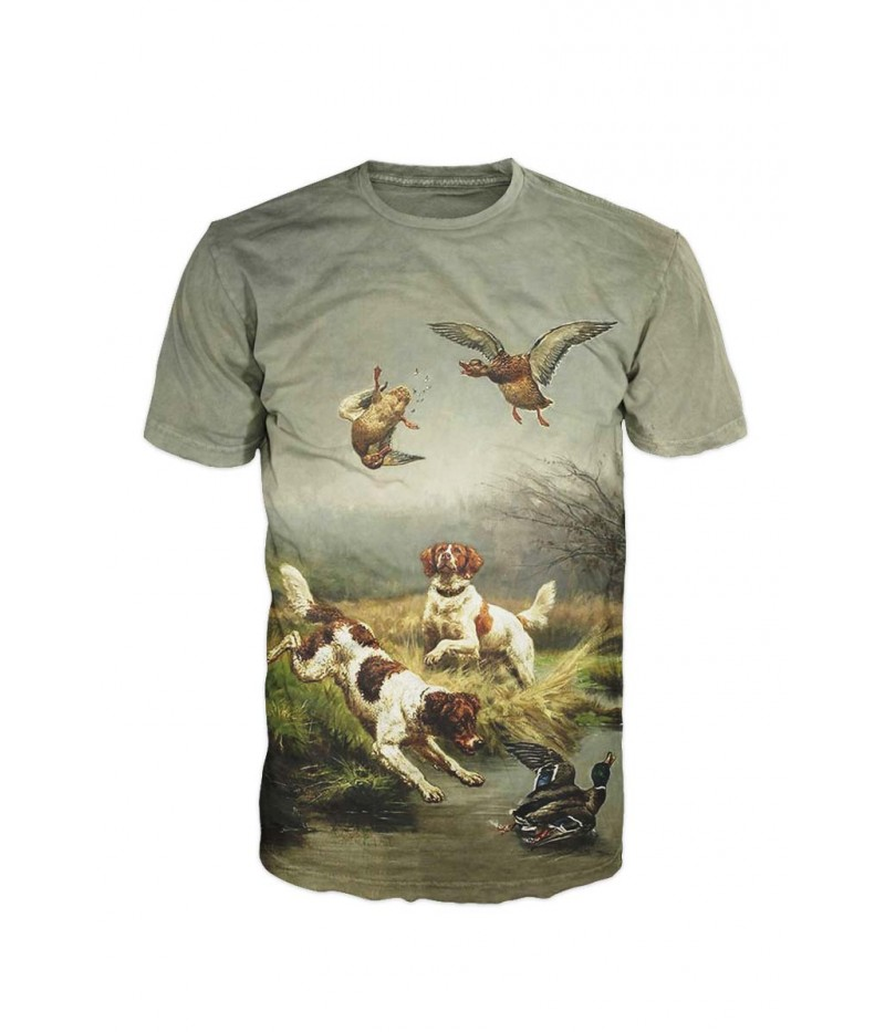 Ловна тениска с кучета и патици