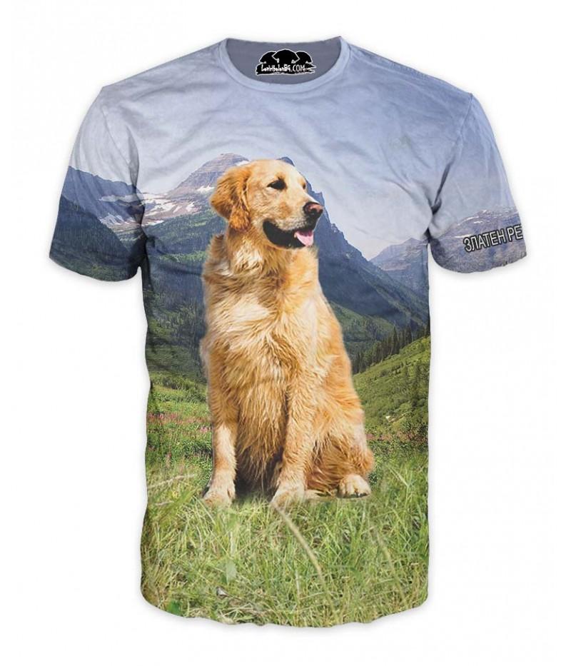 Ловна тениска със златен ретрийвър