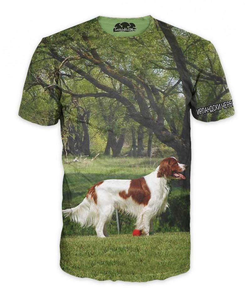 Ловна тениска с Ирландски червено-бял сетер