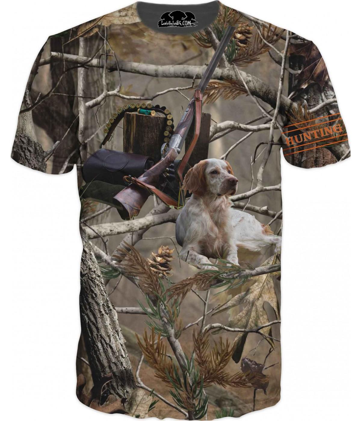 Ловна тениска - куче и ловни принадлежности