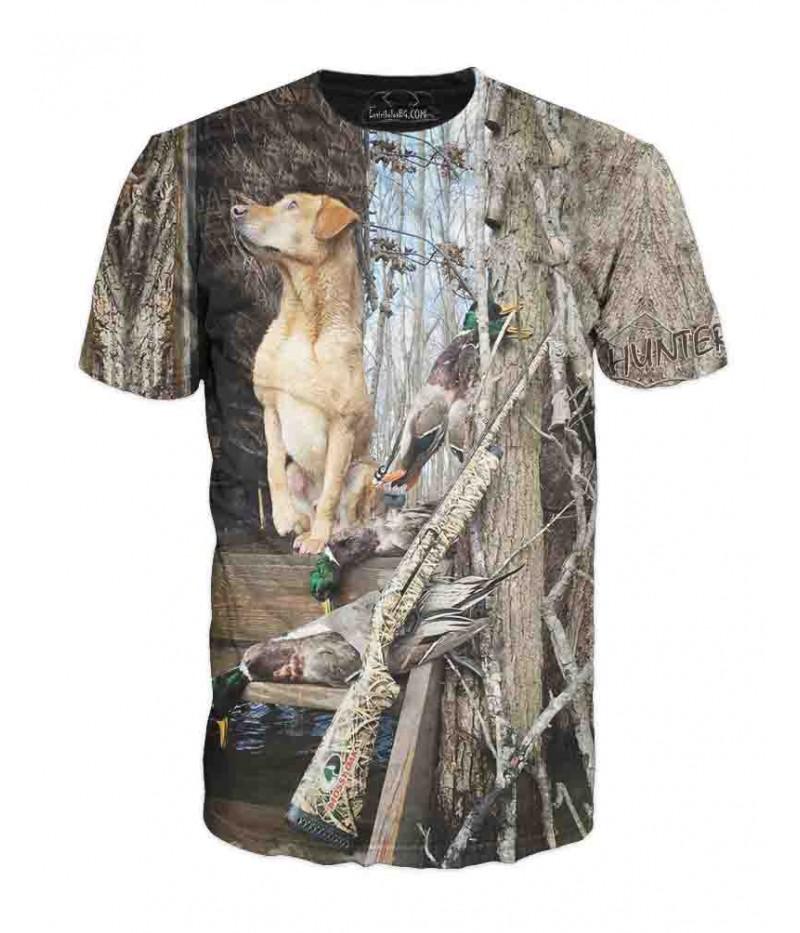 Ловна тениска с куче и камуфлаж