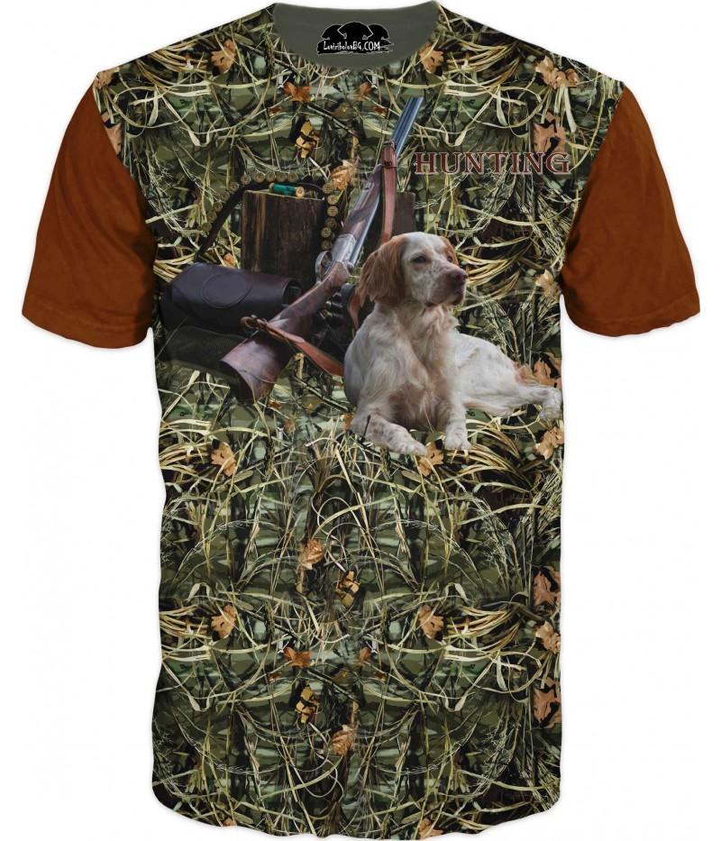 Ловна тениска с куче и пушка в тръстиков камуфлаж
