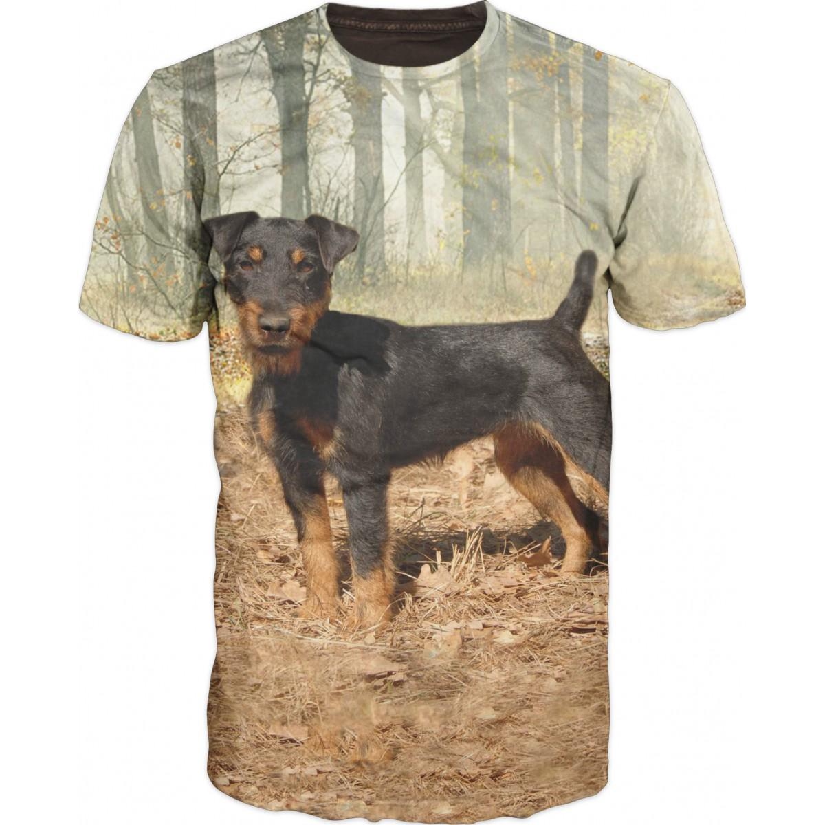 Ловна тениска с куче-ягдтериер