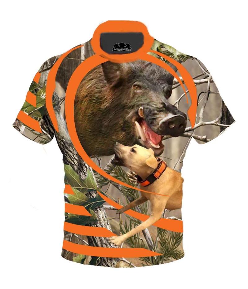 Ловна тениска с диво прасе и куче
