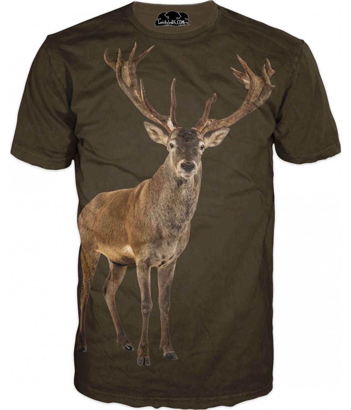 Ловна тениска на елен във фон