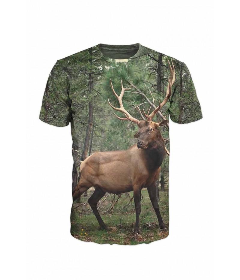Ловна тениска с елен в гората