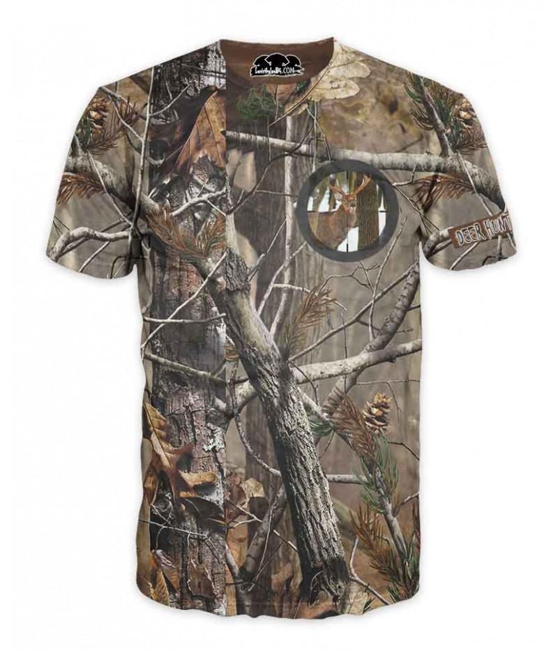 Ловна тениска-камуфлаж с емблема на елен