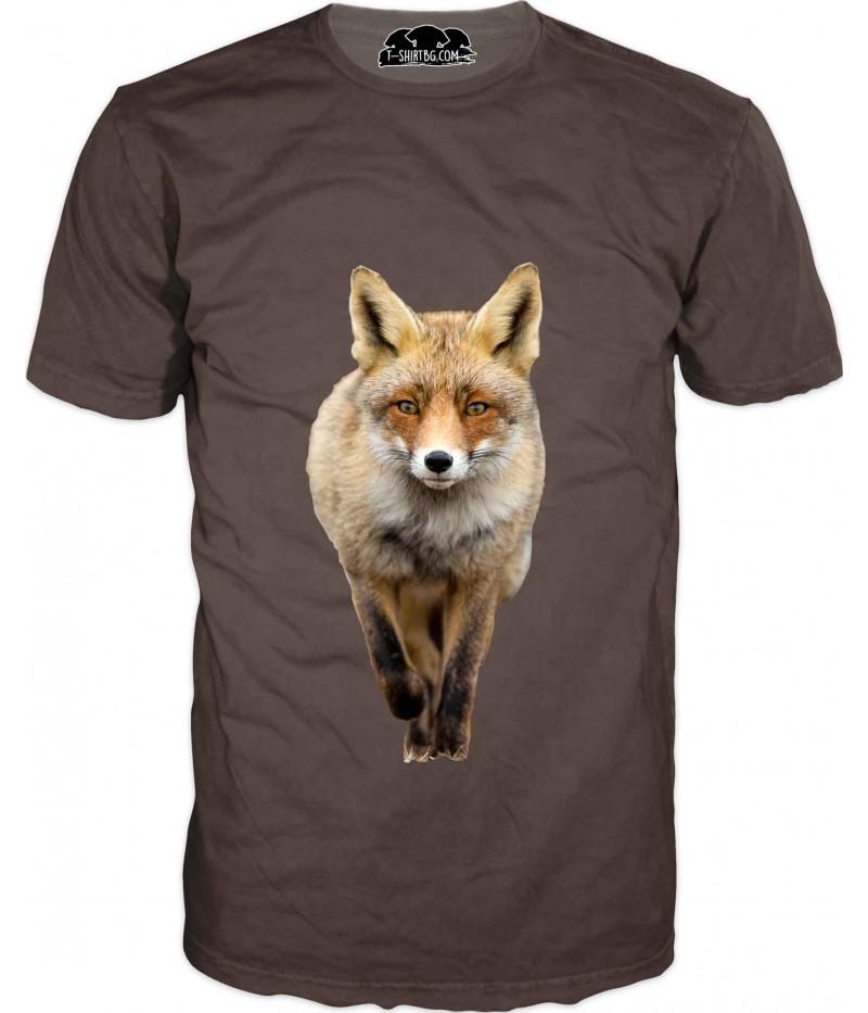 Ловна тениска с лисица на кафяв фон