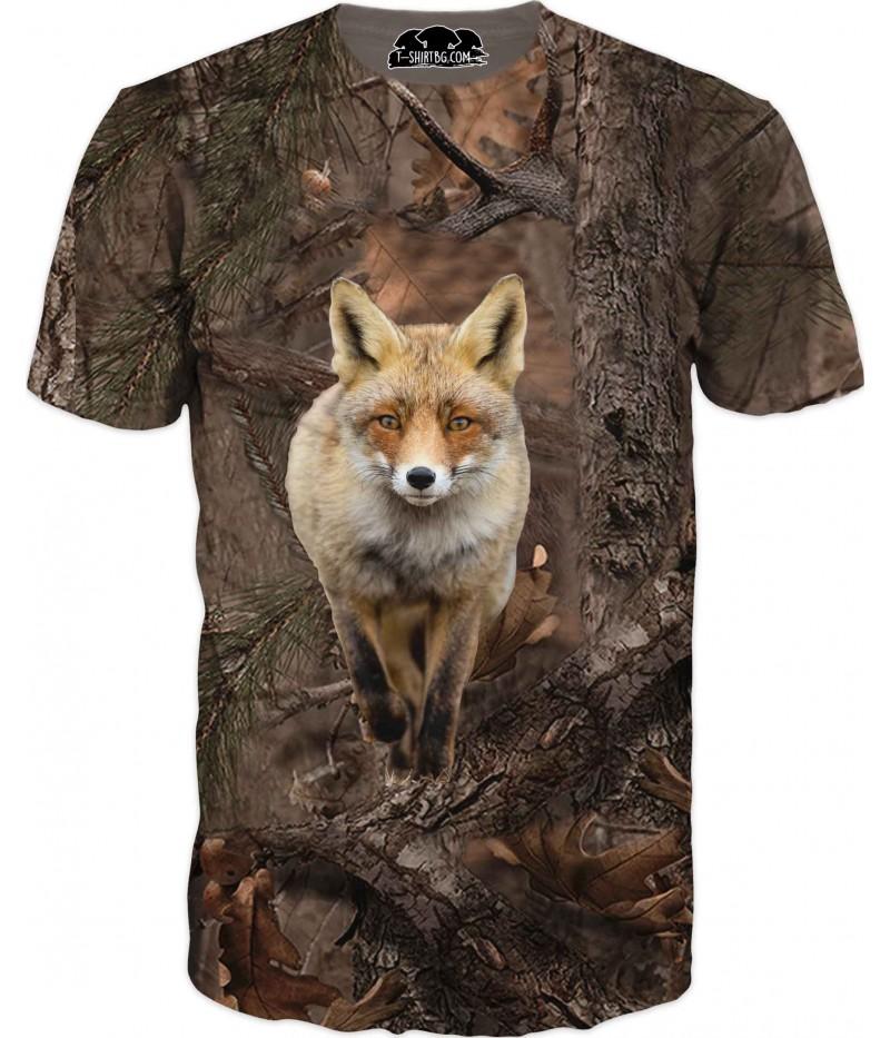 Ловна тениска с лисица в горски камуфлаж
