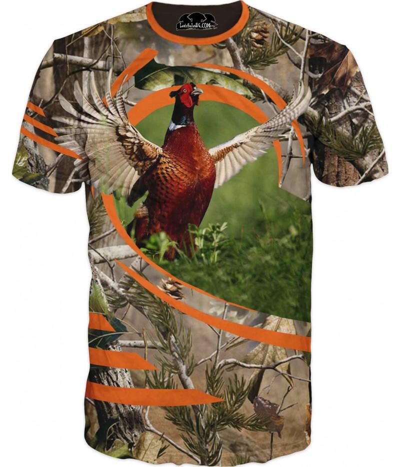 Ловна тениска с фазан с разперени криле