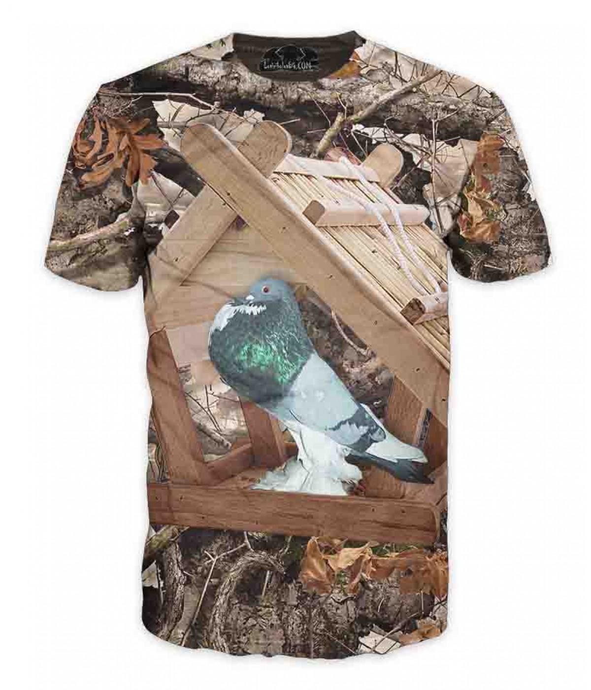 Ловна тениска с гълъб в хранилка-камуфлаж