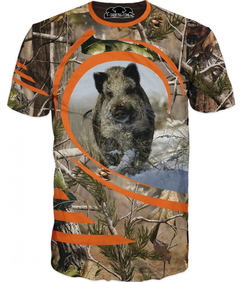 Ловна тениска с глиган в зелен камуфлаж