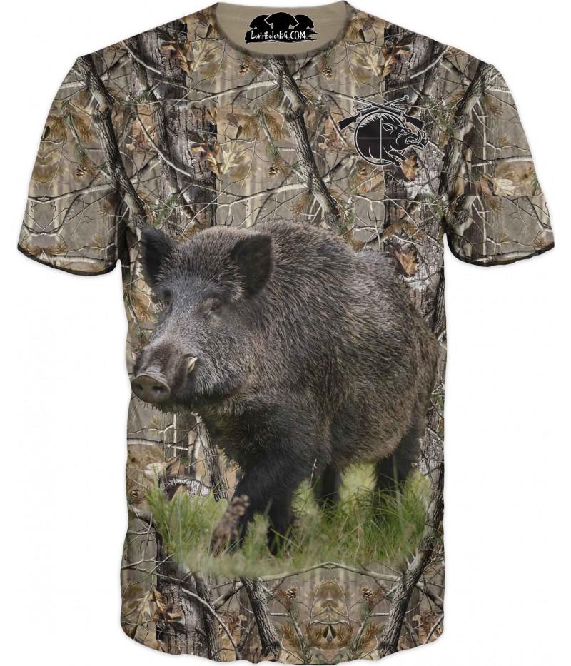 Ловна тениска с глиган и мерник в горист камуфлаж