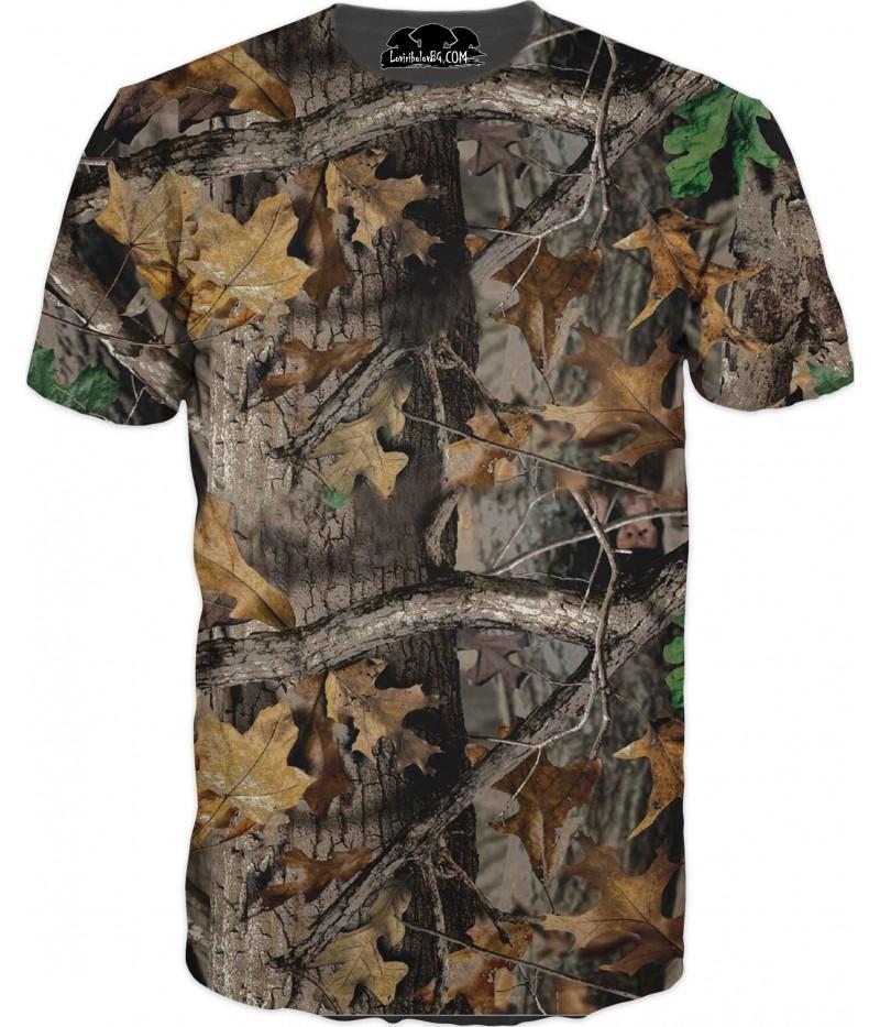 Ловна тениска с мерник пушка емблема камуфлаж