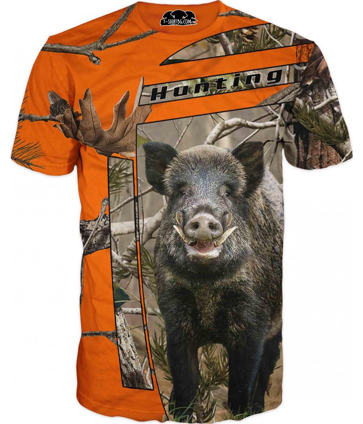 Ловна тениска - Диво прасе на оранжев камуфлаж