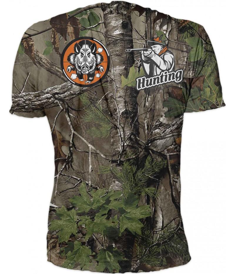 Ловна тениска с глиган и куче в оранж