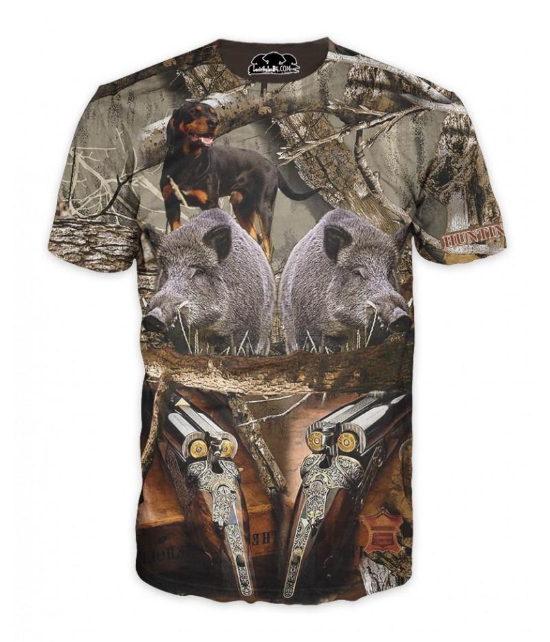 Мъжка камуфлажна тениска с уникална ловна композиция