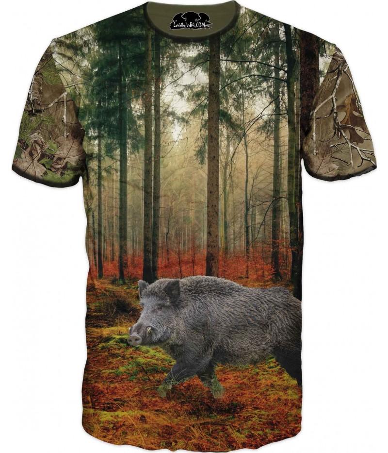 Страхотна ловна тениска с глиган в гора