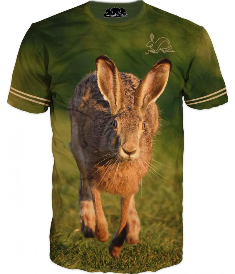 Страхотна ловна тениска със заек в полянка