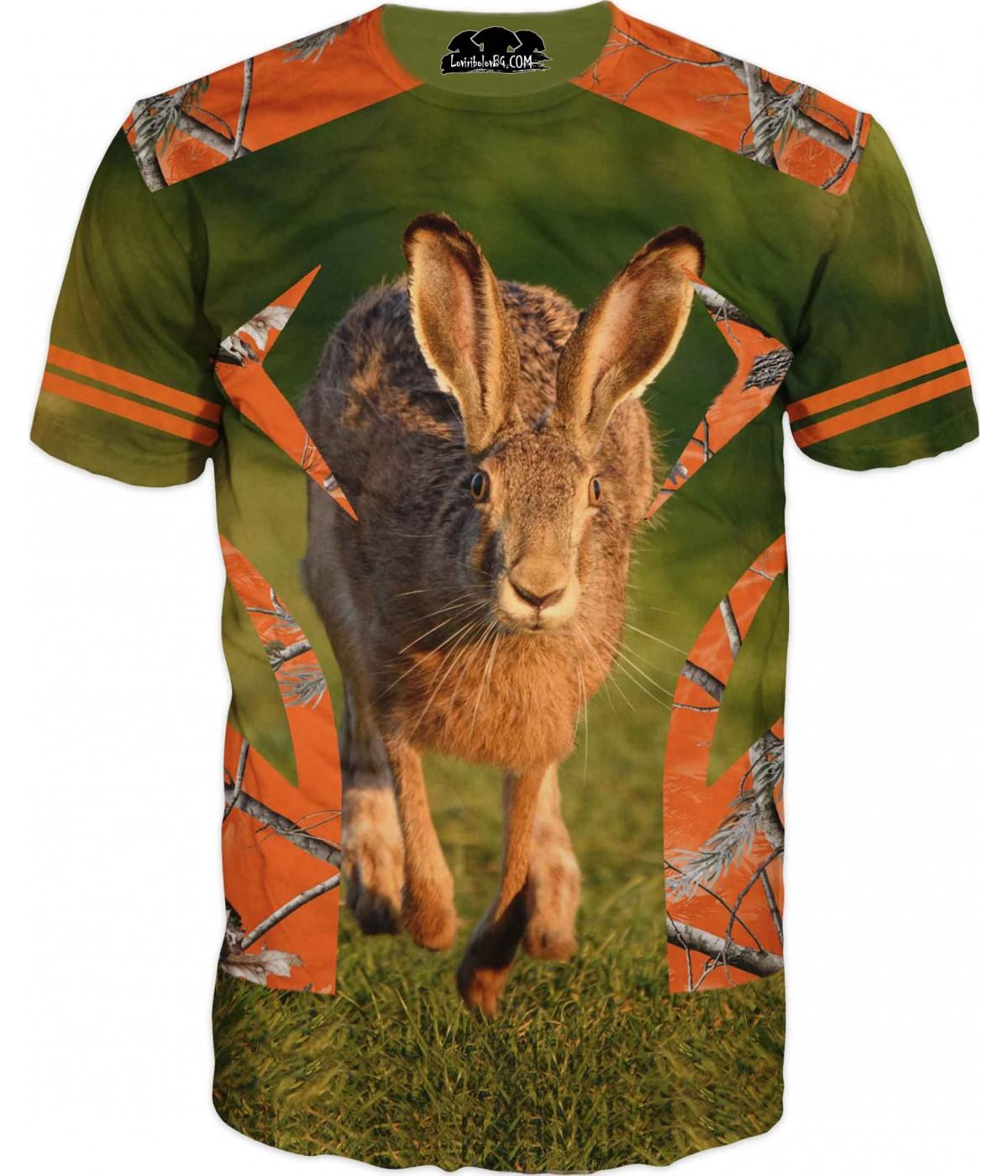 Страхотна ловна тениска със заек и орнаменти