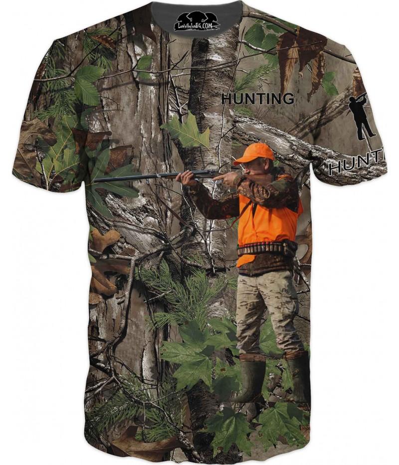 Ловна тениска - ловец с пушка в камуфлаж