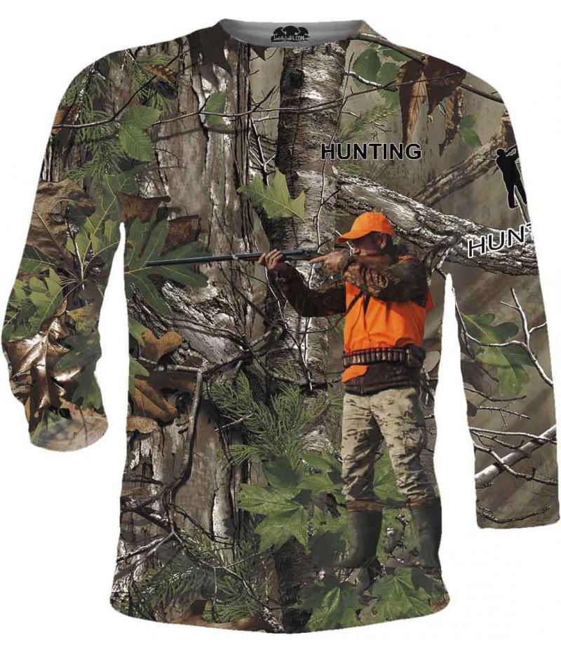 Ловна тениска - ловец с пушка в камуфлаж - дълги ръкави