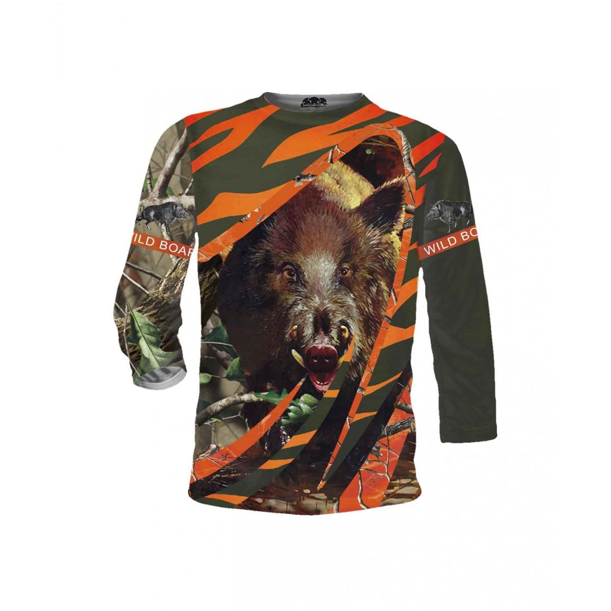 Ловна тениска за любители с диво прасе - дълги ръкави
