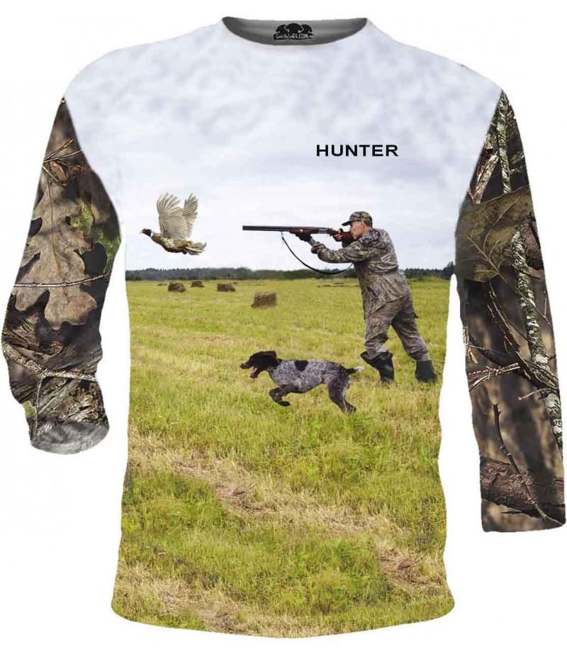 Тениска със стрелящ ловец по патица - дълги ръкави